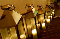Chrome lanterns up the stairs